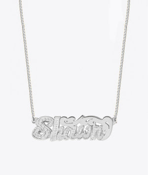 ACE DOUBLE DIAMOND CUT NAMEPLATE NECKLACE