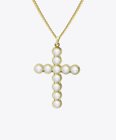 DIANA PEARL CROSS NECKLACE