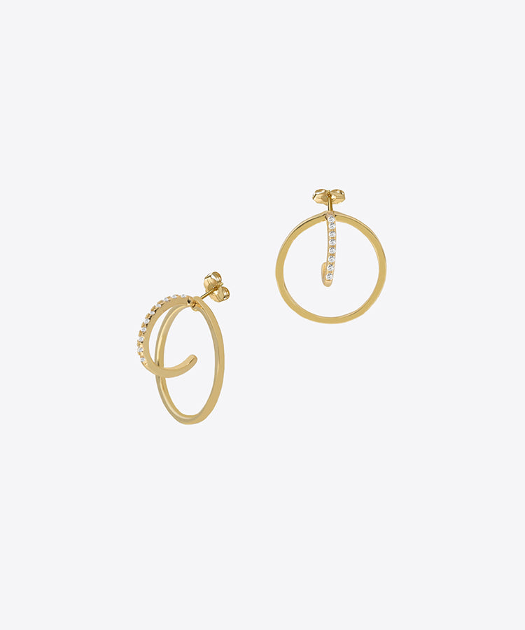 FIFTH AVE DOUBLE MINI HOOP STUD EARRINGS