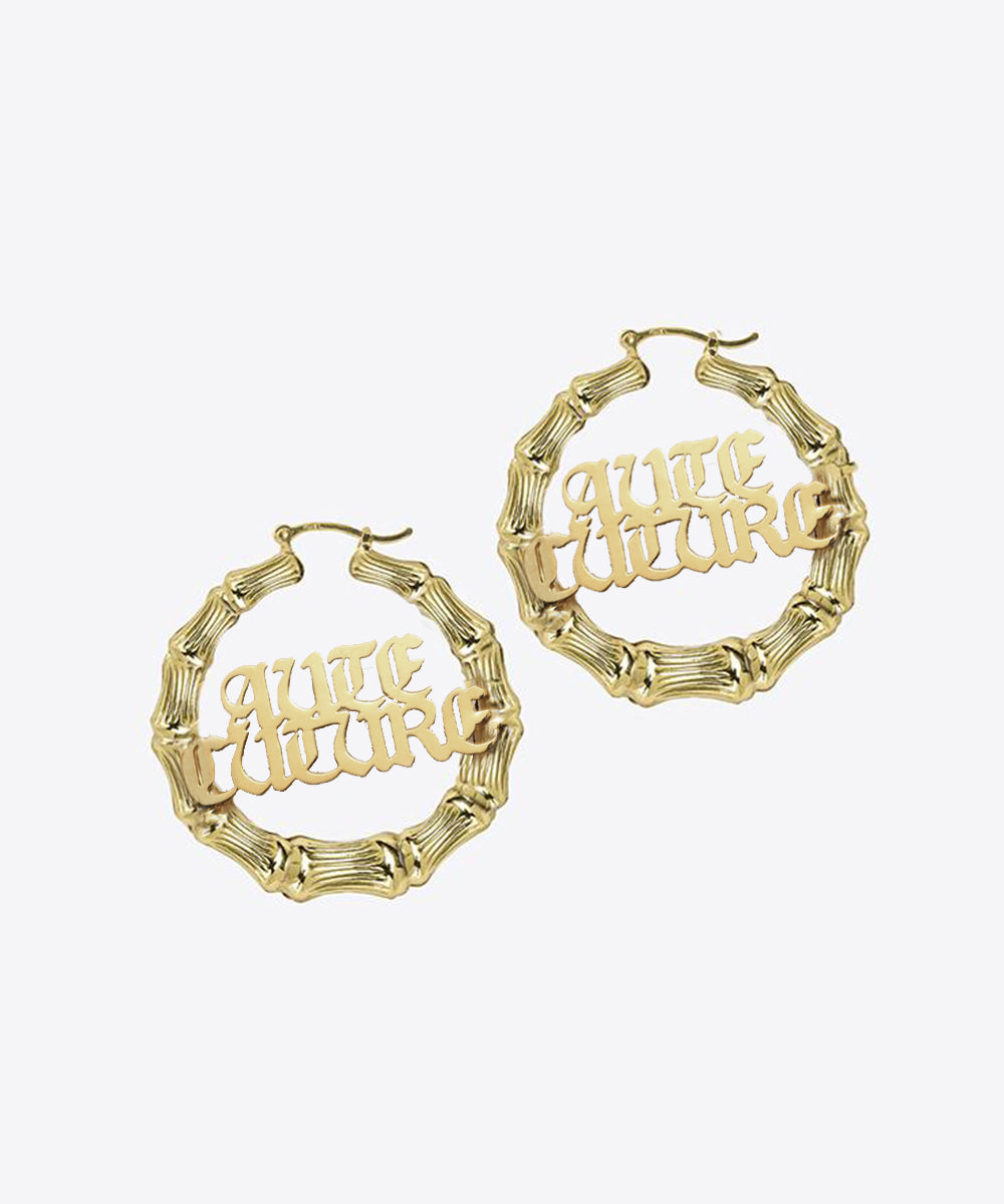 shami shami jewelry shami official NOUVEAU GOTHIC BAMBOO NAMEPLATE HOOP EARRINGS vogue kelly shami