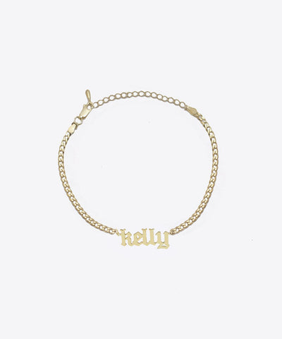 NOUVEAU GOTHIC NAMEPLATE ANKLET