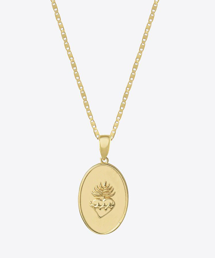 HEARTS AFIRE MEDALLION NECKLACE