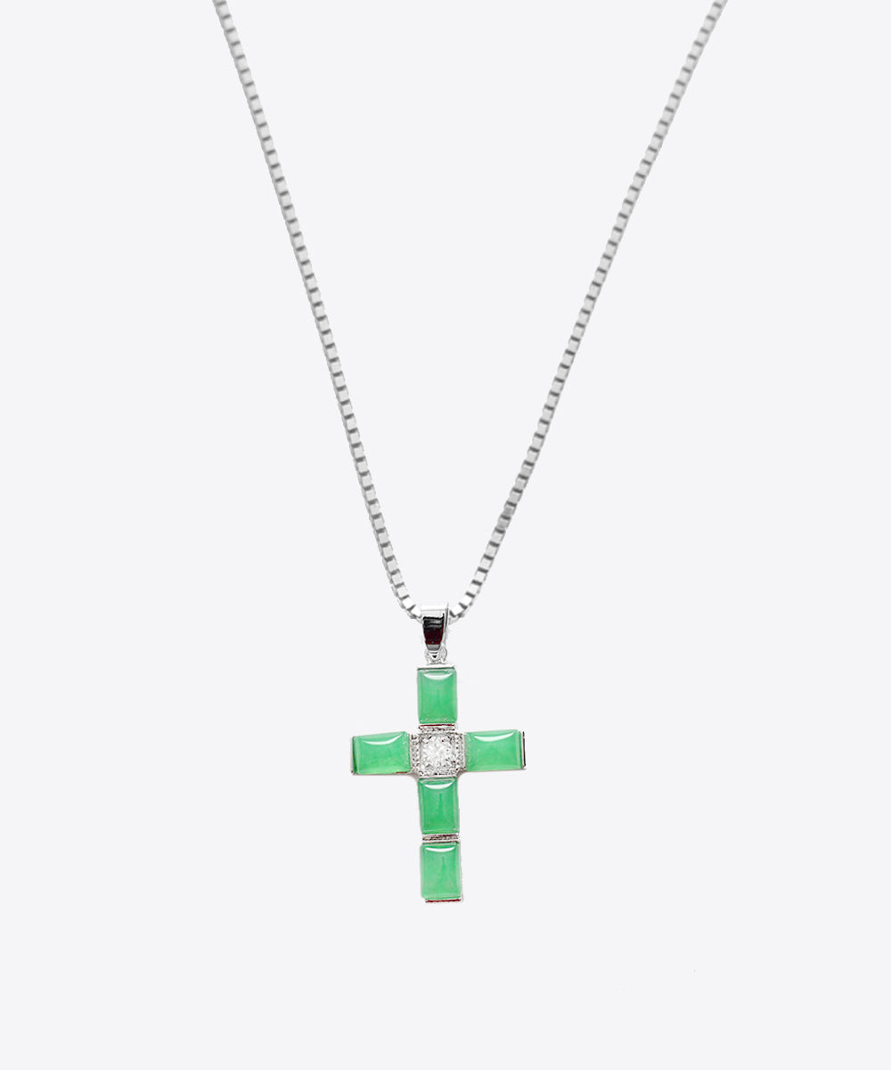 JADE SQUARE CROSS NECKLACE