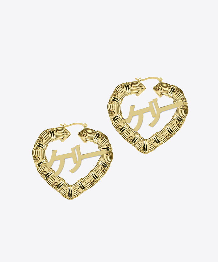 JAPANESE HEART BAMBOO NAMEPLATE HOOP EARRINGS