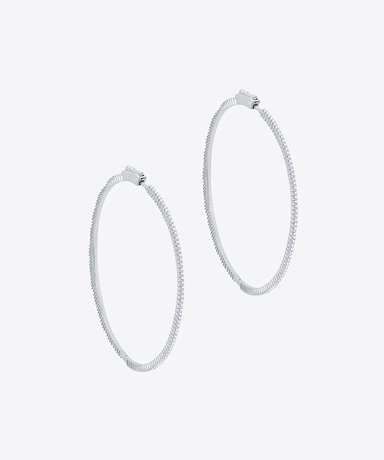 FIFTH AVE THIN SILVER HOOP EARRINGS