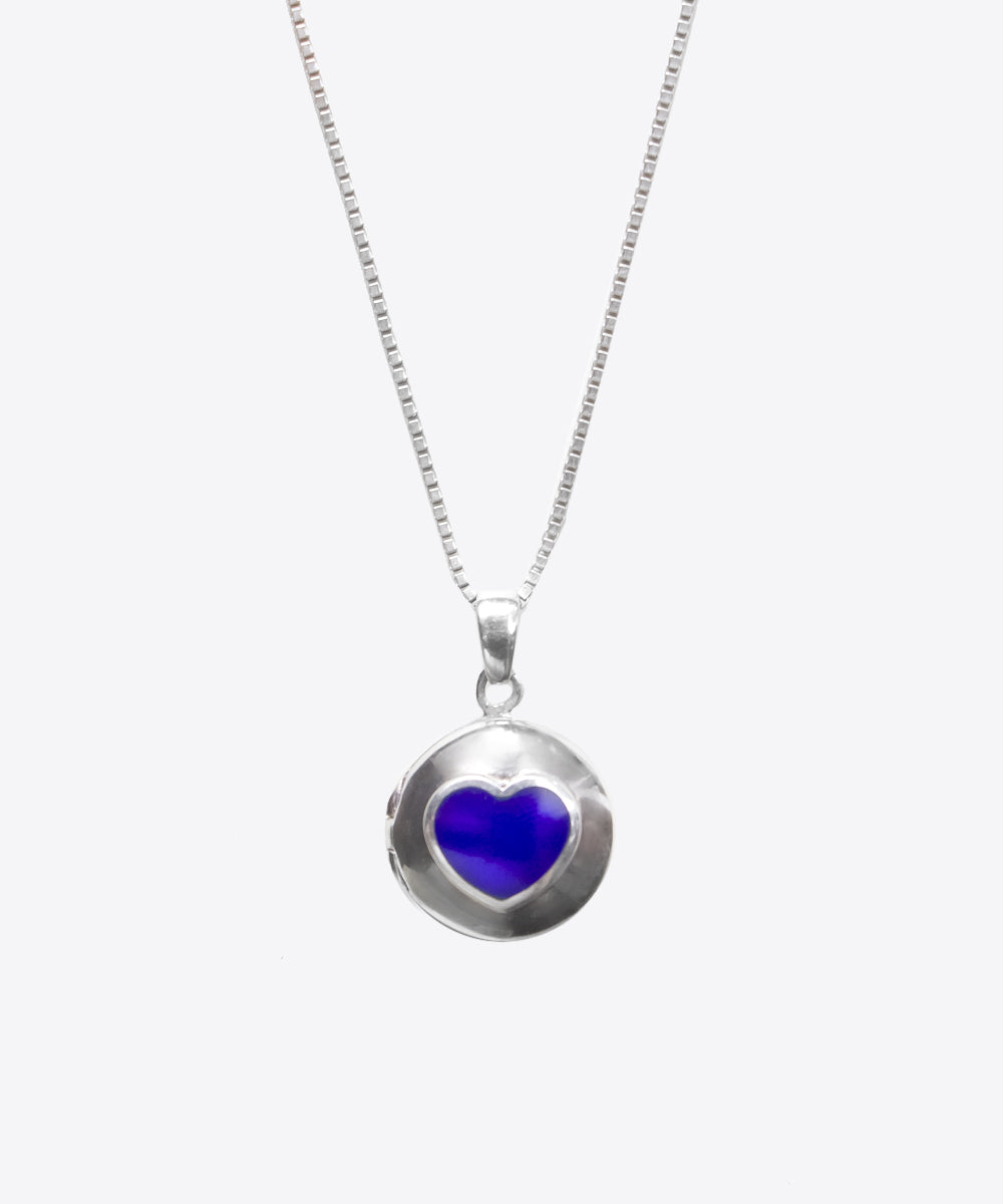 HEIRLOOM SILVER LAPIS HEART LOCKET NECKLACE