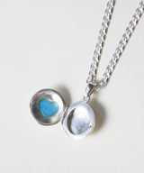 HEIRLOOM SILVER TURQUOISE HEART LOCKET NECKLACE