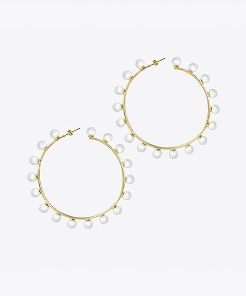 MONICA PEARL HOOP EARRINGS