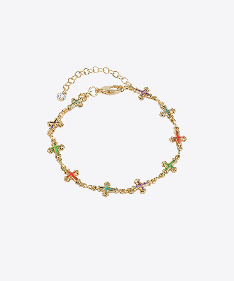 MULTICOLOR JULIET CROSS BRACELET