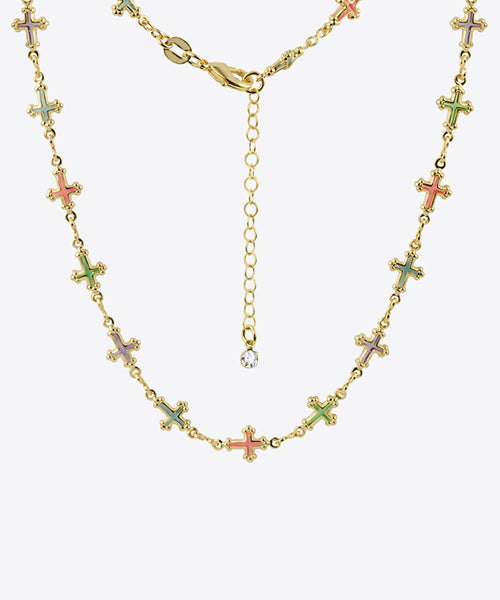 MULTICOLOR JULIET CROSS NECKLACE