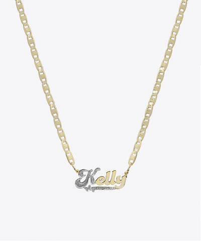 HAIGHT DIAMOND CUT NAMEPLATE NECKLACE