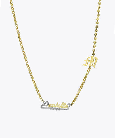 CURB & BALL CHAIN DOUBLE NAMEPLATE NECKLACE