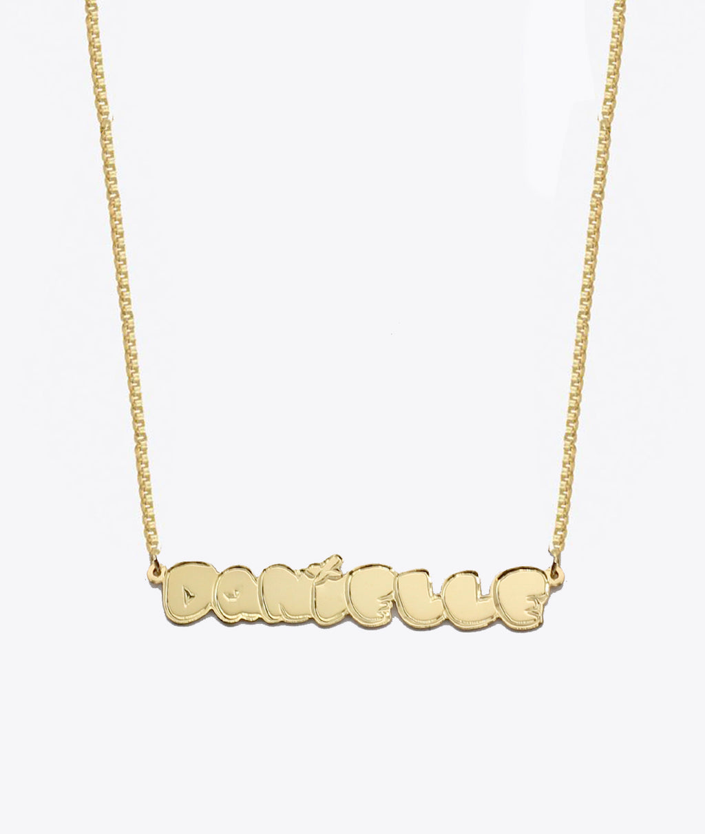 PUFFY NAMEPLATE UNISEX NECKLACE