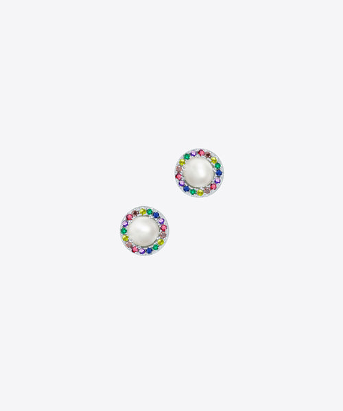 RAINBOW & PEARL STUD EARRINGS