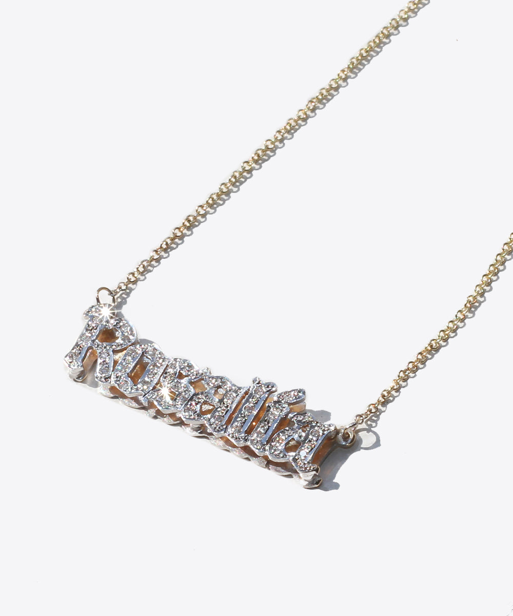 NOUVEAU GOTHIC 14kt GOLD & DIAMONDS DOUBLE NAMEPLATE NECKLACE