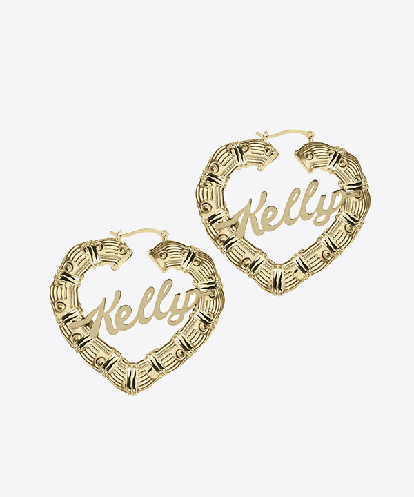 SHAMI HEART BAMBOO NAMEPLATE HOOP EARRINGS