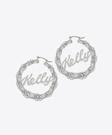 Bamboo Nameplate Hoops Kelly Shami Jewelry Shami Official