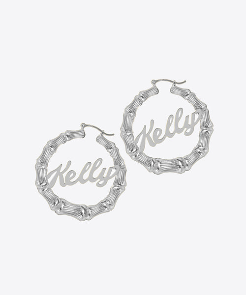 SHAMI BAMBOO NAMEPLATE HOOP EARRINGS