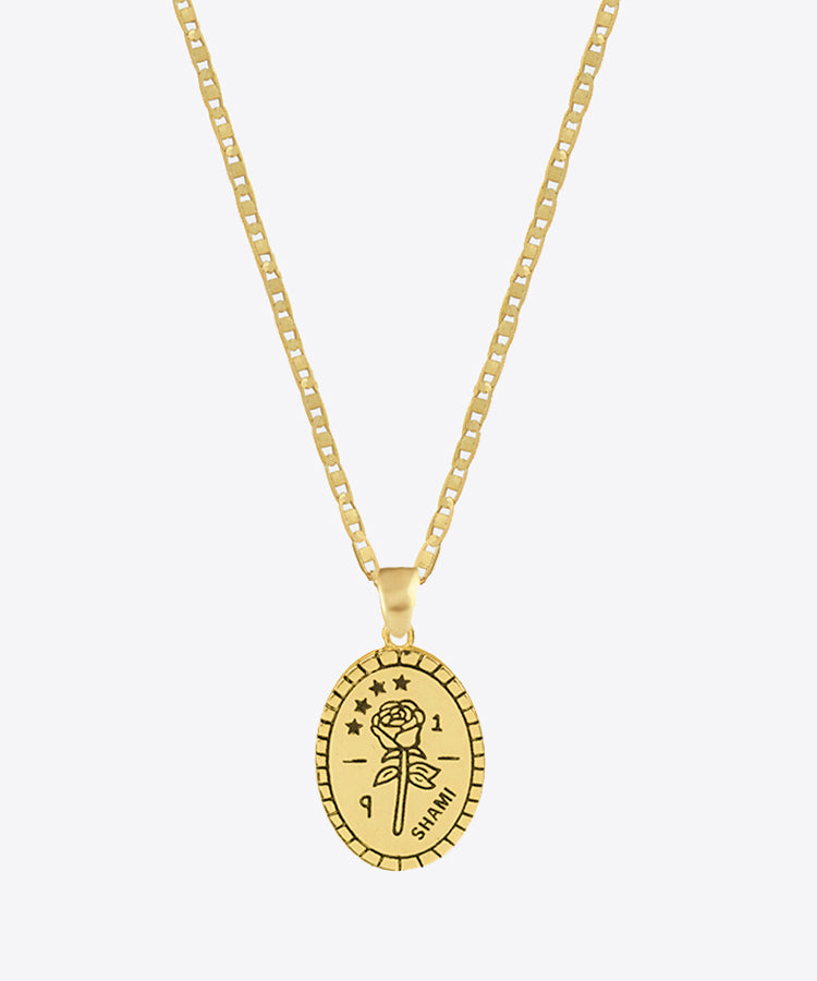 SHAMI ROSE MEDAL NECKLACE