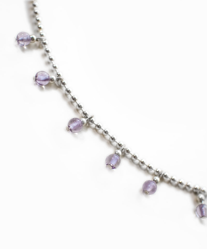 TINY BEADED LAVENDER DROP NECKLACE