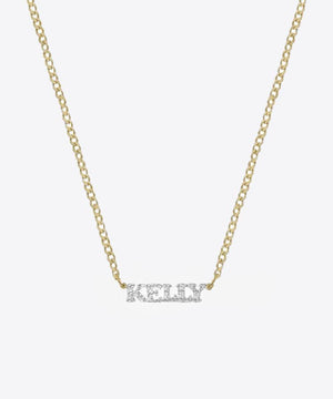 TRIP NAMEPLATE 14K GOLD & DIAMONDS