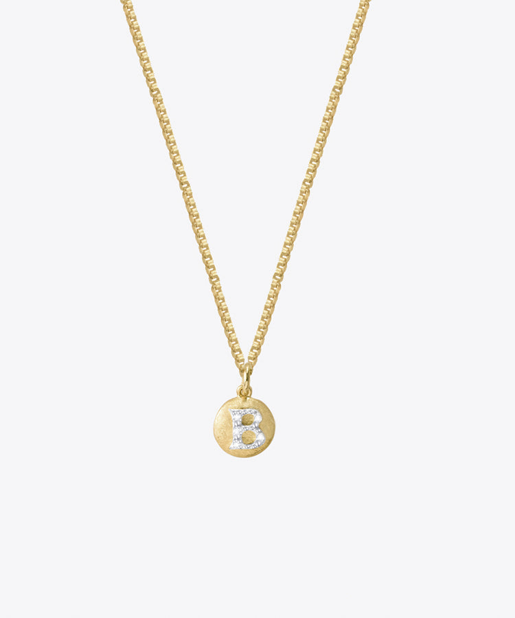 TINY DIAMOND LETTER MEDAL NECKLACE