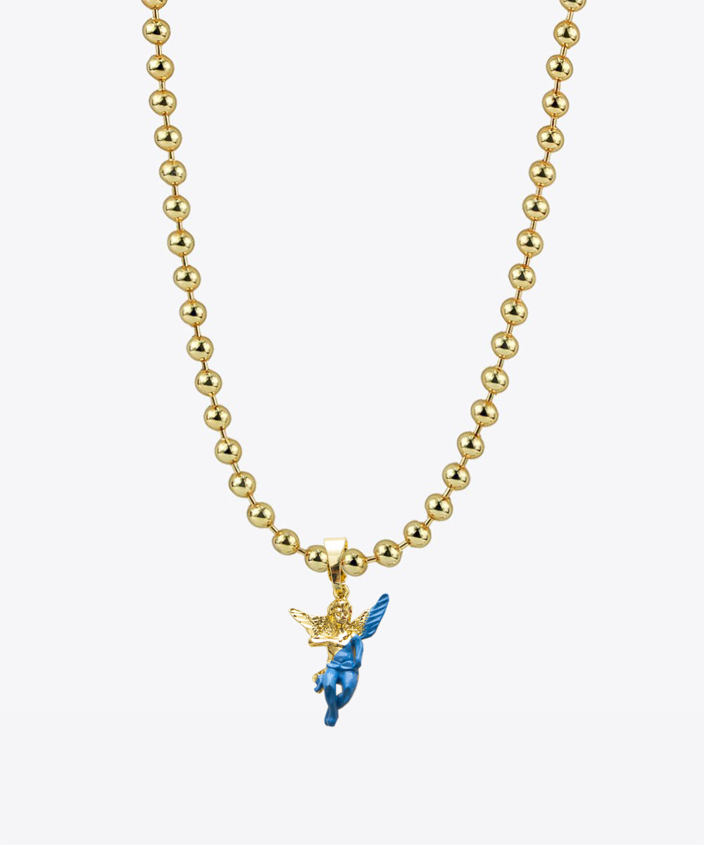 GOLD ENAMEL DIPPED ANGEL BALL CHAIN NECKLACE