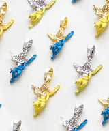 GOLD ENAMEL DIPPED ANGEL PENDANT