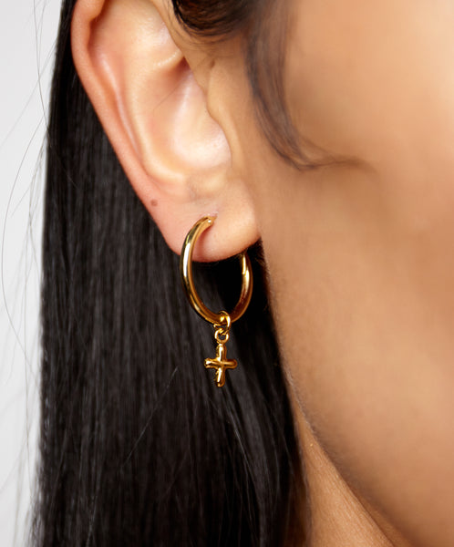 CROSS DANGLE MINI HOOP EARRINGS