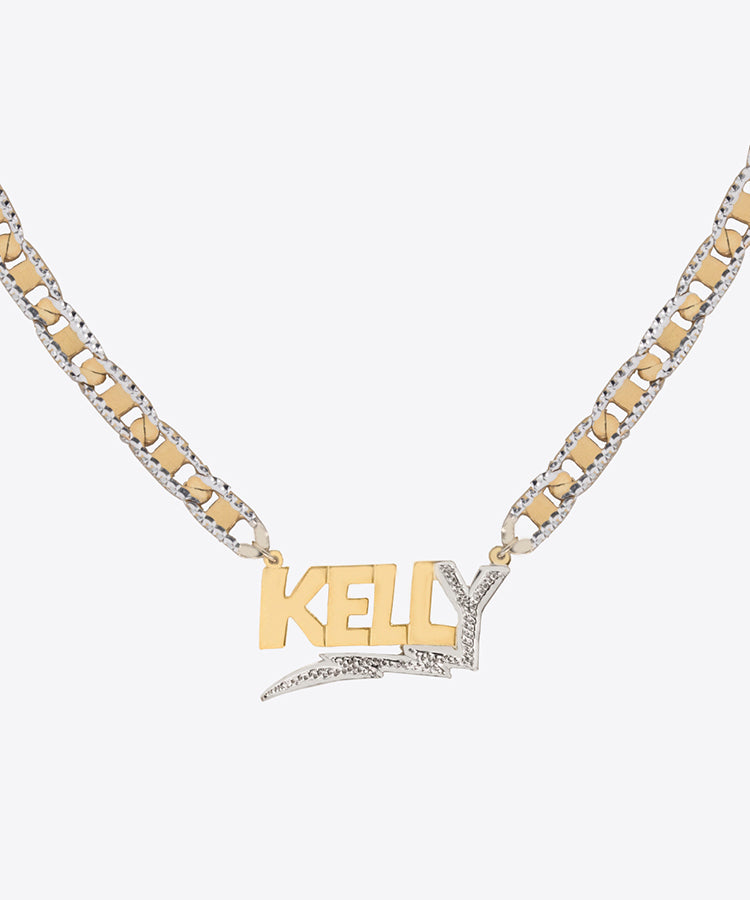 shami jewelry bolt diamond cut nameplate kelly shami personalized