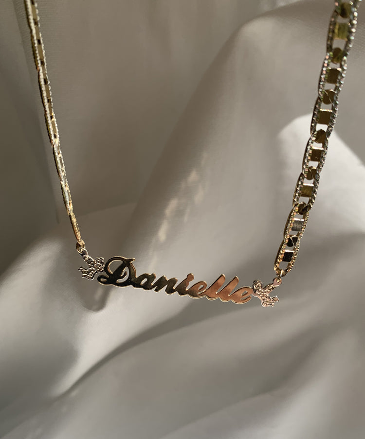 ANGELIC DIAMOND CUT NAMEPLATE NECKLACE