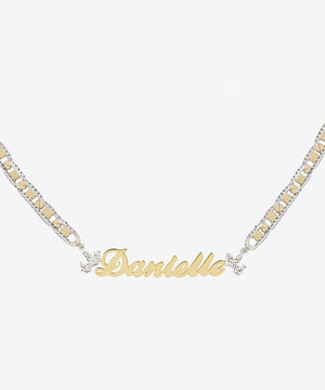 THE ANGELIC DIAMOND CUT NAMEPLATE NECKLACE