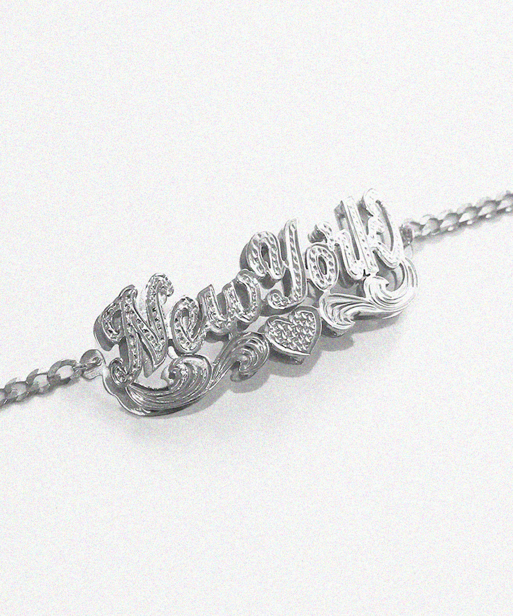CLASSIC SCRIPT DOUBLE NAMEPLATE CURB LINK ANKLET