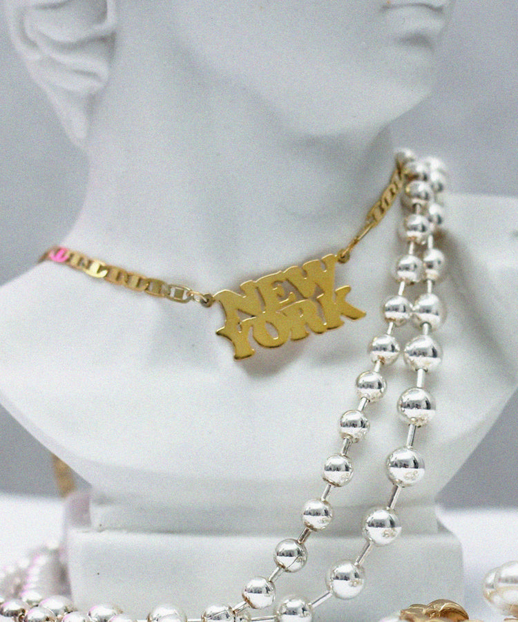 DOUBLE TRIP NAMEPLATE NECKLACE