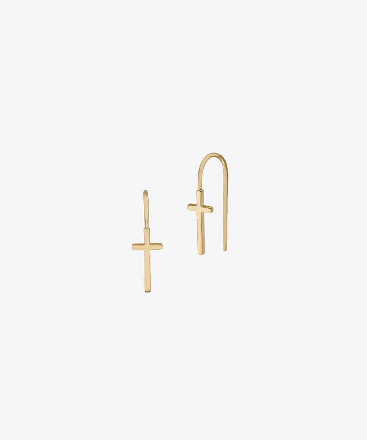 HOOK BACK MINI CROSS EARRINGS