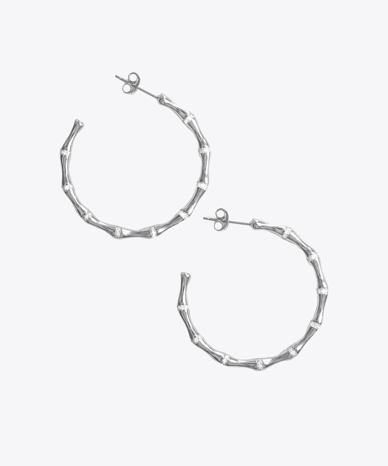 SHAMI CZ DAINTY BAMBOO HOOP EARRINGS