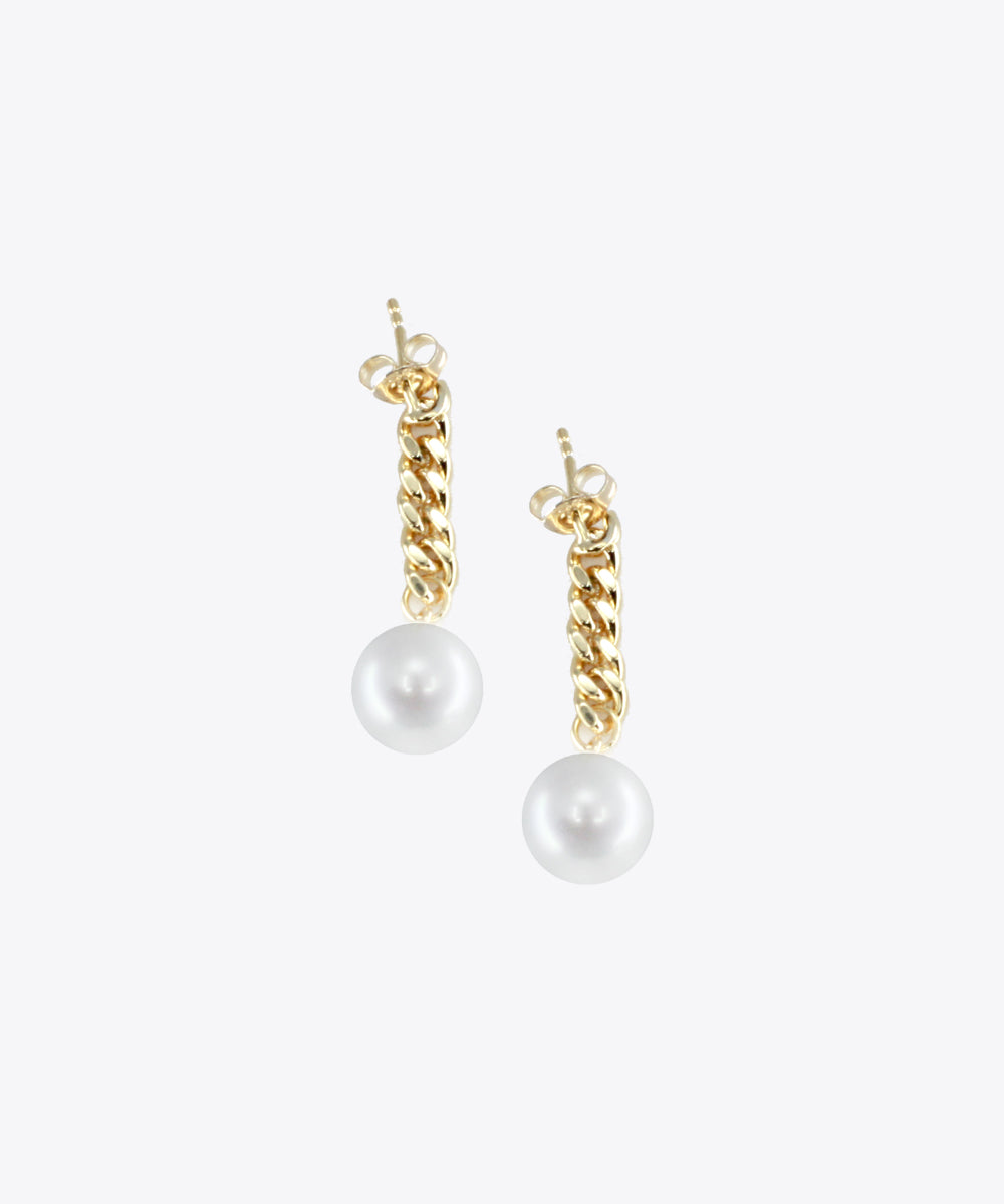 PEARL CURB DROP EARRINGS