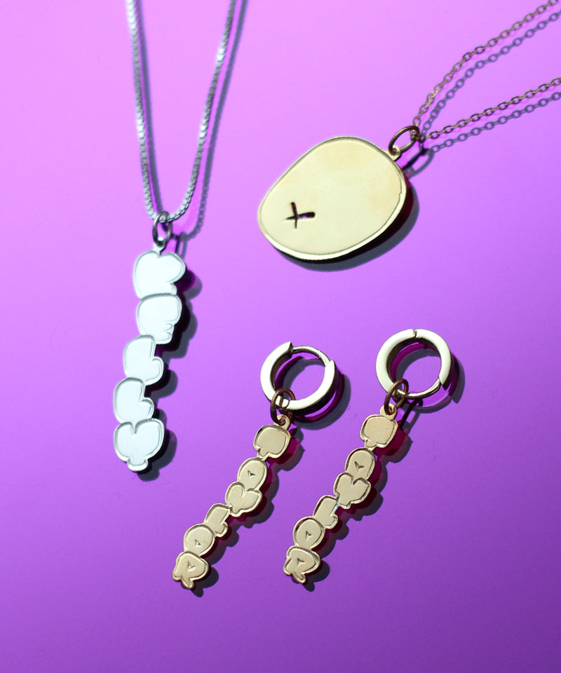 VERTICAL PUFFY NAMEPLATE UNISEX NECKLACE