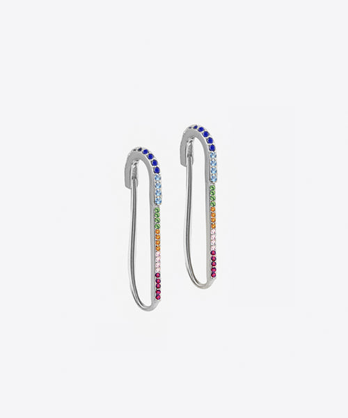 RAINBOW SAFETY PIN EARRINGS