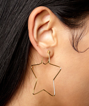 SMALL STAR HOOP EARRINGS
