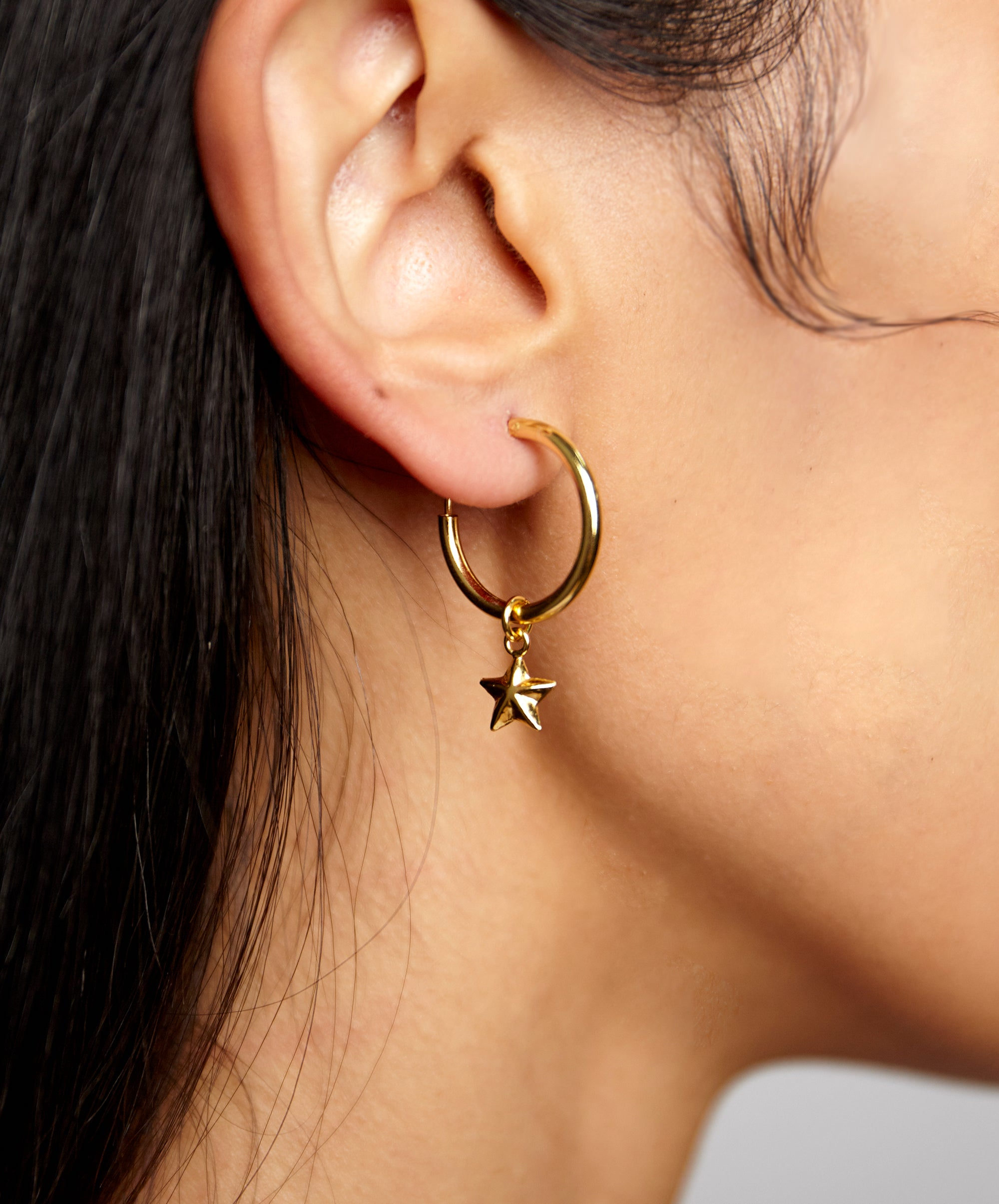 STAR DANGLE MINI HOOP EARRINGS