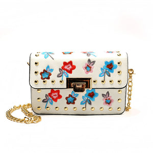 Flowers Embroidered Cross Body Bag Linni 2 colors