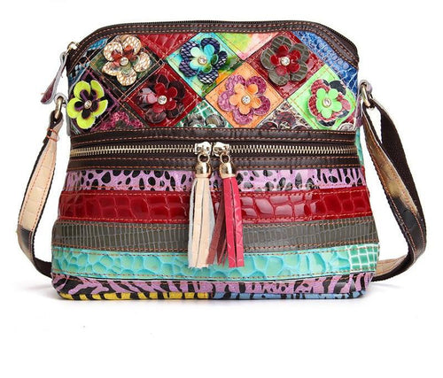 Genuine Leather Patchwork Crossbody Bag Venus
