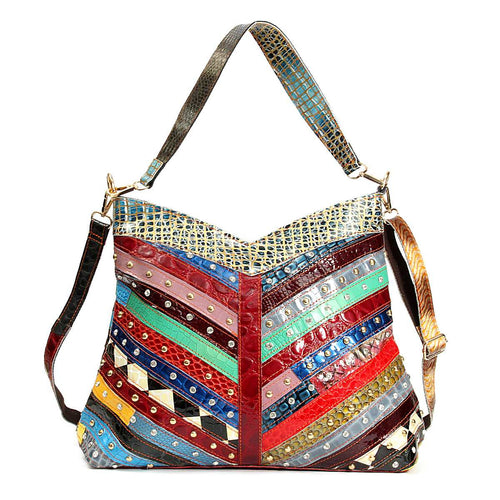Genuine Leather Patchwork Hobo Tote Bag  Shea