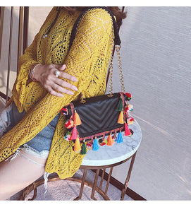 Crossbody with pom-poms Nila 4 colors