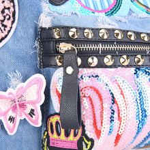 Embroidered denim bag Blair