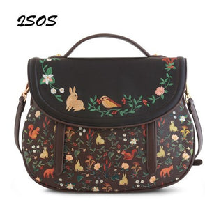 Handbag embossed and embroidered Rabbit