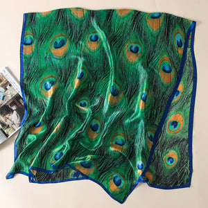Silk Green  Scarf Peacock