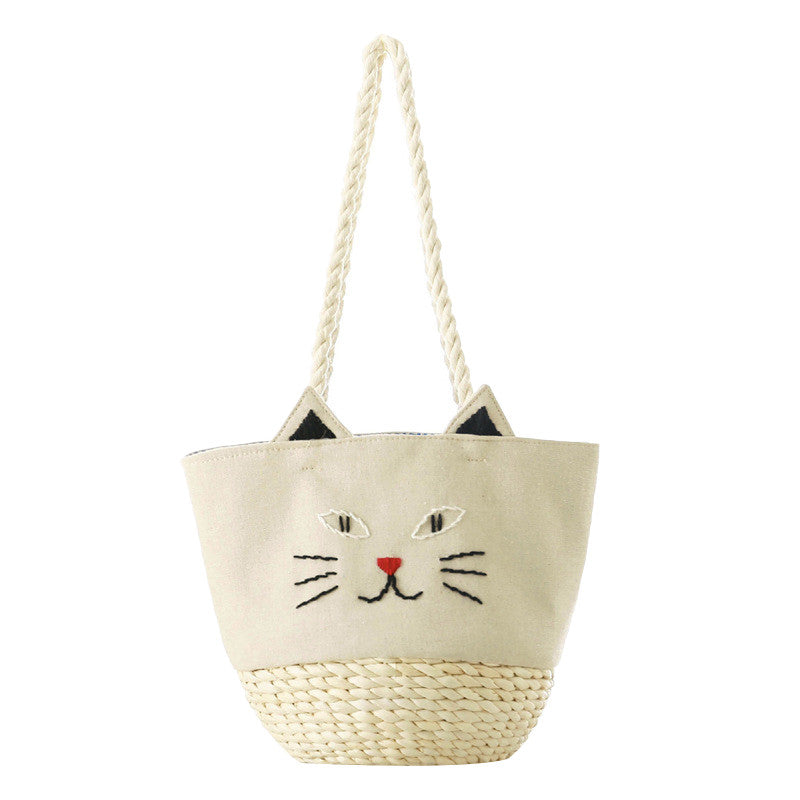 Cat Knitted Straw Bag Cat Bob