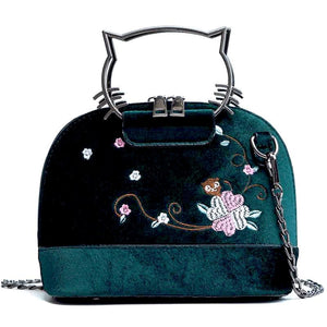 Velvet Handbag Kitty Shape Handle Bobby (4 colors)
